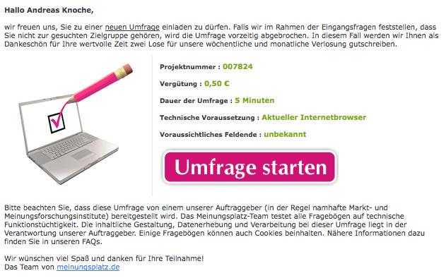 Online-Umfrage von meinungsplatz.de